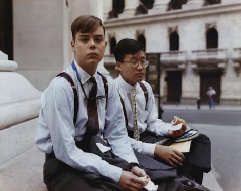 Joel Sternfeld: Summer Interns Having Lunch, Wall Street, New York, August 1987
