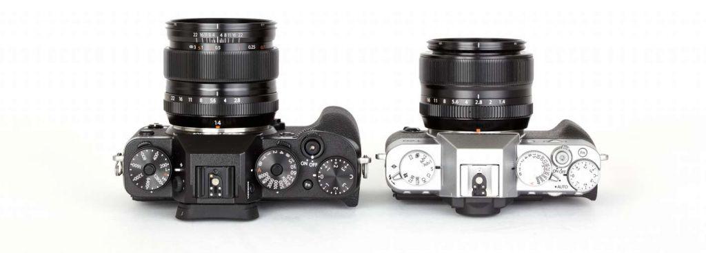 Die Fujifilm X-T20 wirkt im direkten Vergleich zur Profikamera X-T2 merkbar zierlicher, dafür insbesondere in der silbernen Ausführung, aber auch eleganter.